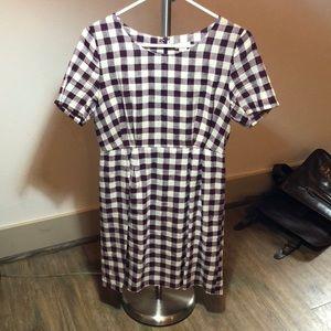 Maroon and White Checkered Dress